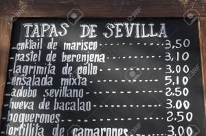 menu tapas